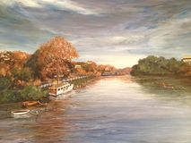 River on Canvas. Canvas oil painting of a River in Autumn Royalty Free Stock Images