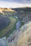 A river in a canyon. A river runs through a canyon near Palouse Falls in eastern Washington Royalty Free Stock Images