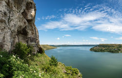 River canyon. With green hills Royalty Free Stock Photo