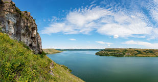 River canyon. With green hills Stock Image