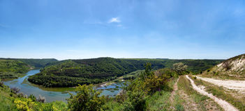 River canyon. With green hills Royalty Free Stock Image