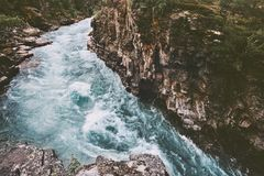 River canyon landscape in Sweden travel aerial view royalty free stock images