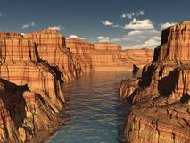 River Canyon Summer. River canyon rock layers in summer with hard shadows and simple deep blue sky stock illustration