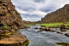 River in the canyon, Thingvellir NP, Iceland Royalty Free Stock Photos