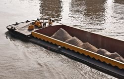 River cargo ship bow Stock Photos