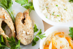 River carp and boiled white rice Stock Photo
