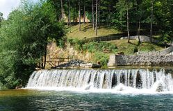 River Cascade Near Jajce Waterfall 1 Royalty Free Stock Photo