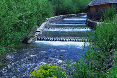 River cascading among green forest and wooden house Stock Photography