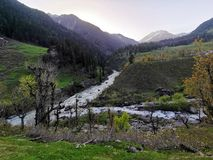 The river caused by the melting of snow. Spring river. The river caused by the melting of snow stock images