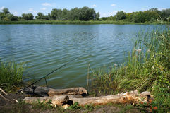 River Chagan in Kazakhstan, fishing Stock Image