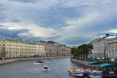 River channel with boats in Saint-Petersburg. Summer Stock Image