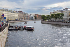 River channel with boats in Saint-Petersburg. Summer Royalty Free Stock Image