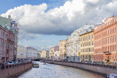 River channel with boats in Saint-Petersburg. Summer Royalty Free Stock Photography