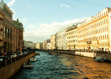 River channel with boats in Saint-Petersburg Stock Photos