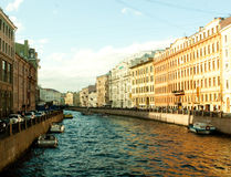 River channel with boats in Saint-Petersburg Stock Photo