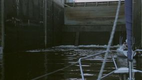 River channel lock filling up with water, transport, sailing. Stock footage stock video footage