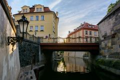 River channel in Prague stock photos