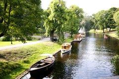 River channel in Riga city park Stock Photo
