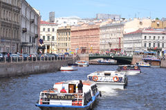 River channel in Saint-Petersburg Stock Photos