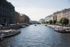 The river channel in St. Petersburg. Photo with a view of the river channel of the city of St. Petersburg, Russia in the summer Stock Image