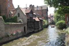 River channel in summer, Brugge Stock Image