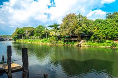 The river chanthaburi thailand with blue sky.  Royalty Free Stock Photo