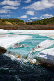 River Chibitka over ice at Spring Stock Image