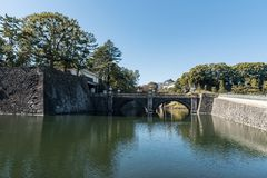 River in Chiyoda Park, Imperial Palace area. stock photo