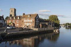 River From church and eatery at Wareham Dorset England UK Royalty Free Stock Photo