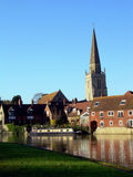 River and Church Tower Royalty Free Stock Image