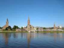 River and churches in Inverness Royalty Free Stock Photo