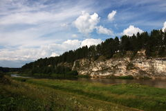 River Chusovaya. Nature of the Ural River Chusovaya in the Perm region Stock Photo