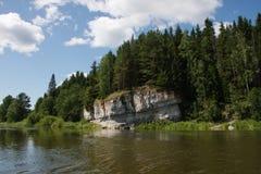 River Chusovaya. Nature of the Ural River Chusovaya in the Perm region Stock Photos