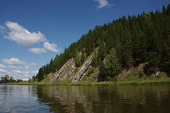 River Chusovaya. Nature of the Ural River Chusovaya in the Perm region Stock Images