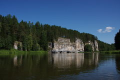 River Chusovaya. Nature of the Ural River Chusovaya in the Perm region Stock Photography