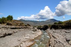 River Cijevna. Montenegro tourist wild beauty river Cijevna Podgorica stock photo