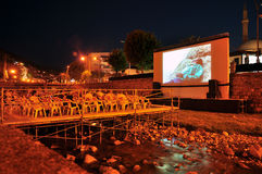 River Cinema over the Bistrica River Royalty Free Stock Photos