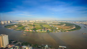 River Circles Round Island in City from Skyscraper at Sunset stock footage