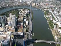 River City. Riverside Freeway splitting Brisbane's CBD, River and Southbank stock photo