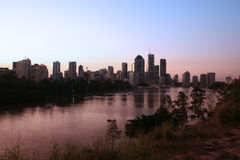 River City. The Brisbane City and River at dusk Stock Image