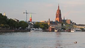 River, city and cathedral. Frankfurt am Main, Germany. 02-09-2017 stock video footage