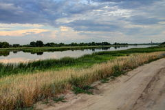 The river in the city of Dirt Russia, cloudy Night Royalty Free Stock Photography