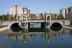 River in city of Eskisehir Stock Images