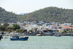 River city of Nha Trang, Vietnam. Photo fishing area by the river in the city of Nha Trang, Vietnam stock photo