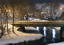 The river in the city. Night view in the cities park Royalty Free Stock Images
