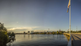 River and City of Northern Sweden Royalty Free Stock Image