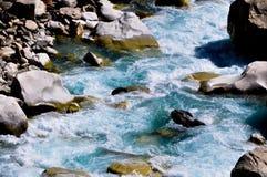 River closeup. Beautiful saraswati river flowing through. Taken in Mana village in Badrinath Royalty Free Stock Photos