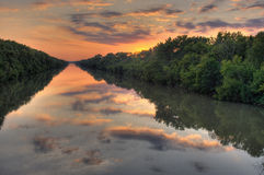 River cloud reflections Royalty Free Stock Images