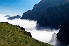 River of clouds. Temperature inversion creates a river of clouds Royalty Free Stock Image