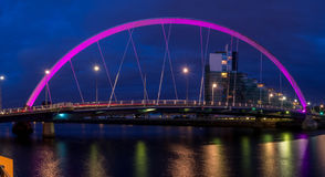 River Clyde with the Clyde Arc Bridge. The River Clyde with the Clyde Arc Bridge in Glasgow, Scotland. Glaswegians call the Clyde Arc the squinty bridge due to Royalty Free Stock Photography